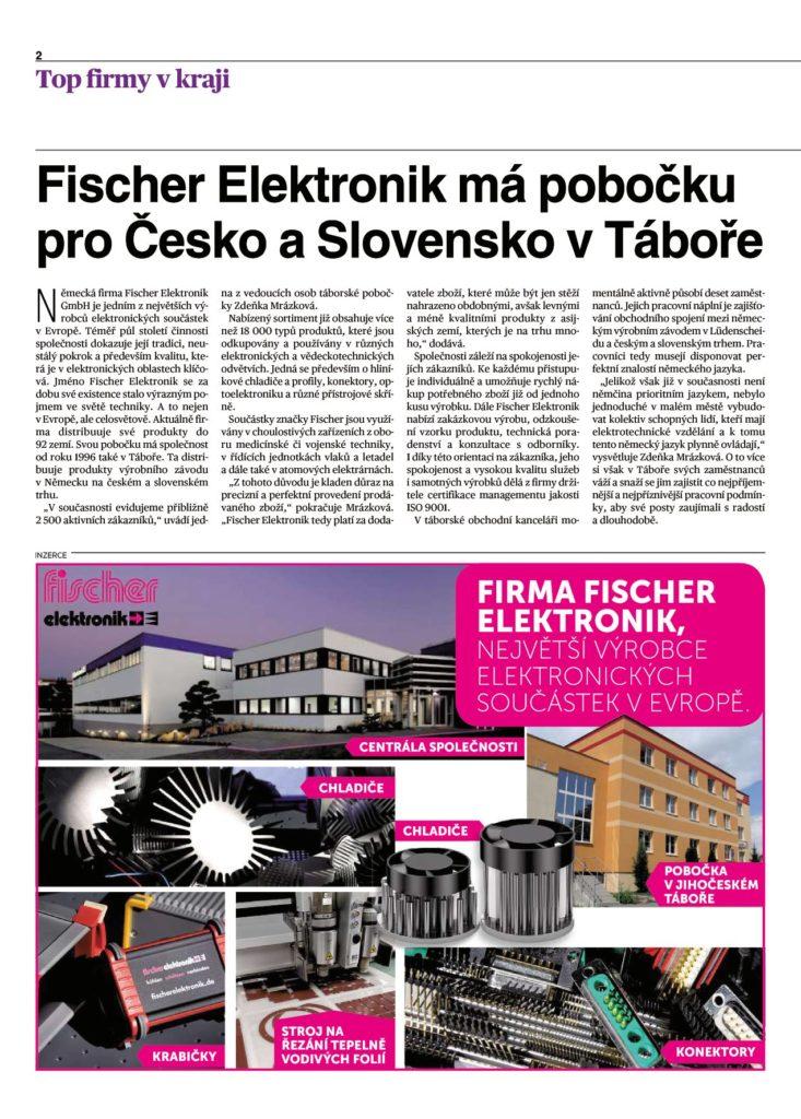 clanek o firmě Fischer elektronik - chladiče, konektory a skříně z Tábora